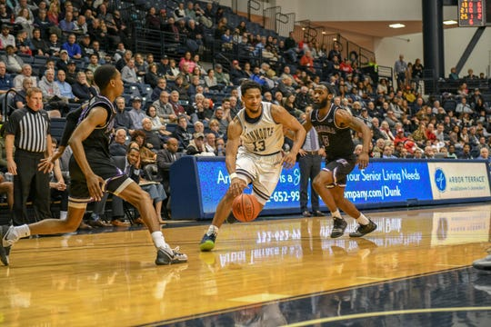 Monmouth's Marcus McClary drives to the basket during the Hawks' 82-71 win over Niagara at OceanFirst Bank Center in West Long Branch on Oct. 24, 2020.