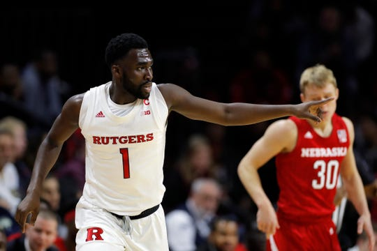 Rutgers forward Akwasi Yeboah (1) reacts against Nebraska