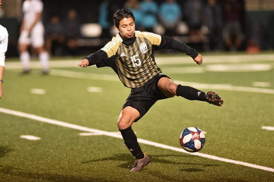 Abilene High's Johnny Rocha (15) settles the ball during the second half against Odessa Permian on Friday. Rocha assisted on two of the Eagles four second-half goals in the 5-3 win.