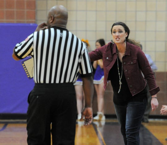 Merkel girls basketball coach Laura Lange reacts after a foul call in a game against Jim Ned on Friday, Jan. 24, 2020, at Merkel High School.