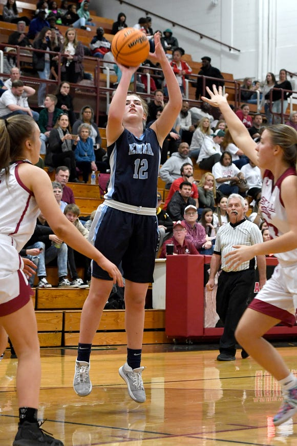 Enka's Hadleigh Dill goes up for a shot against Asheville during their game at Asheville High School on Jan. 24, 2020.