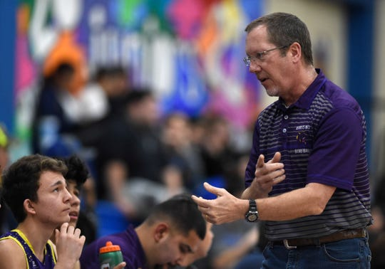 Aransas Pass coach Glenn Hayes talks to his team against Odem in a District 29-3A basketball game, Friday, Jan. 24, 2020, at Odem High School. Aransas Pass won, 80-49.