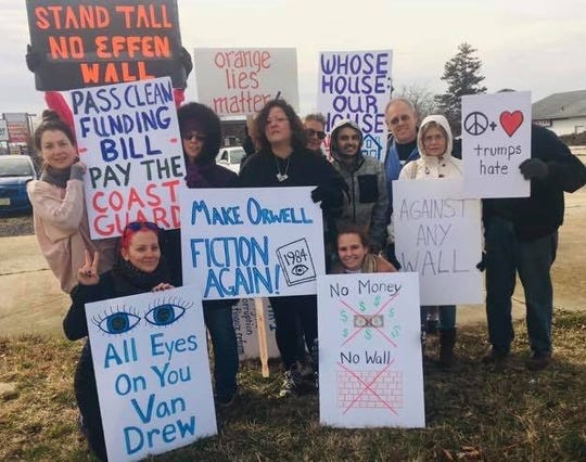 Members of Cape May County Indivisible demonstrate  at Routes 9 and 47 in Rio Grande on the first day of the new Congress in January 2019.