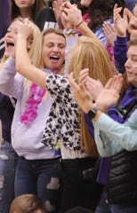 Students in the Unioto student section celebrate Unioto's 45-40 win against Piketon on Jan. 24, 2020.