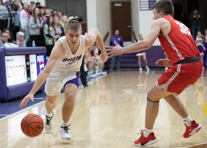 Unioto's Nate Keiser dribbles the ball during a 45-40 win over Piketon at Unioto High School on Friday Jan. 24, 2020 in Chillicothe, Ohio.