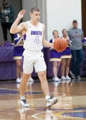Unioto's Nate Keiser brings the ball up the court during a 45-40 win over Piketon at Unioto High School on Friday Jan. 24, 2020 in Chillicothe, Ohio.