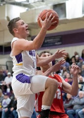 Unioto's Isaac Little goes up for a layup during a 45-40 win over Piketon at Unioto High School on Friday Jan. 24, 2020 in Chillicothe, Ohio.