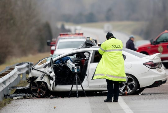 Emergency crews work the scene of a fatal crash involving a charter bus and car on the AA highway in Campbell County, Ky., Jan. 25, 2020. Campbell County police say a charter bus filled with Covington Catholic students was coming from the March for Life in Washington, D.C., when the bus driver hit a vehicle. The driver of the vehicle died.