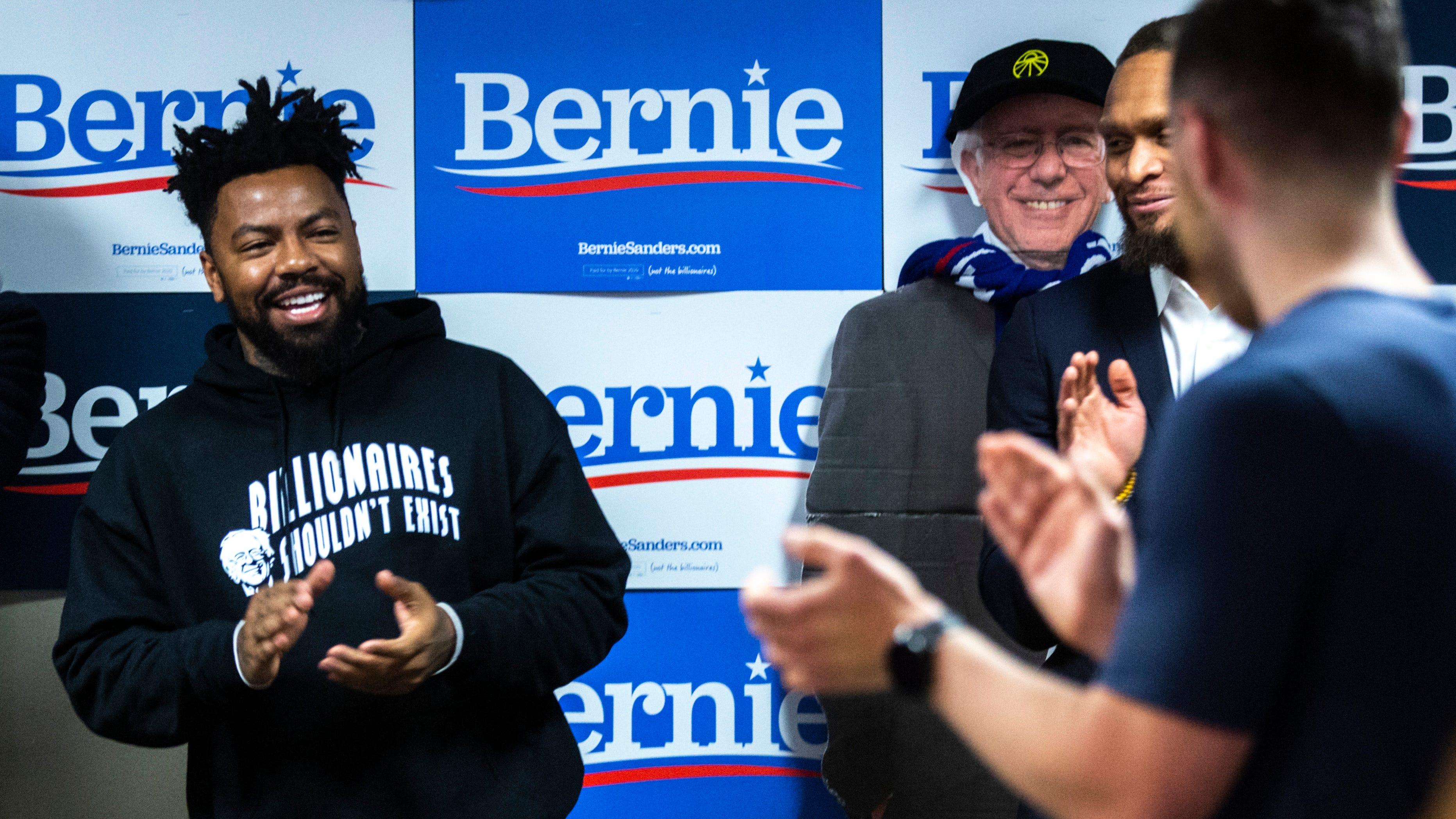 Photos: Phillip Agnew and Mike Posner speak to Bernie Sanders volunteers in Iowa City