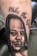 The girlfriend of Damiko Carr, 28, got this tattoo of the man following his death Jan. 15, 2020. Carr, along with his brother Karyree Henderson, were fatally shot while in the 2700 block of 51st Street. Two others were hurt during the shooting.