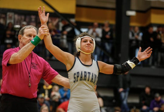 Pleasant Valley's Chloe Clemons won a state title at 120 pounds during the 2020 Iowa girls state wrestling tournament on Saturday, Jan. 25, 2020, at Waverly-Shell Rock High School.