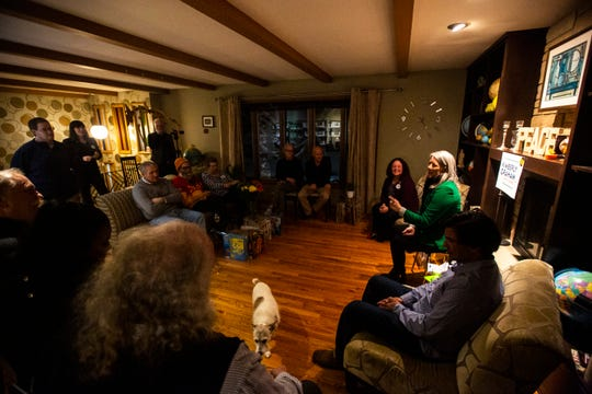Kimberly Graham, candidate for U.S. Senate in Iowa, speaks during a meet and greet, Friday, Jan. 24, 2020, in University Heights, Iowa.