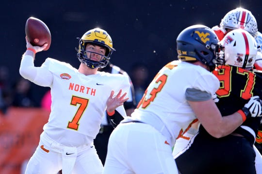 North quarterback Shea Patterson of Michigan makes a pass in the first half of the 2020 Senior Bowl at Ladd-Peebles Stadium, Jan. 25, 2020 in Mobile, Ala.