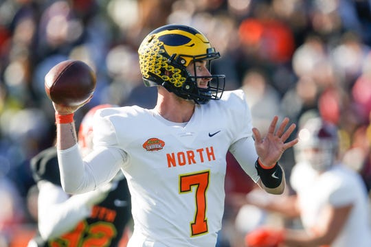 North quarterback Shea Patterson of Michigan (7) throws a pass during the first half.