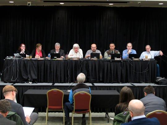 The Alaska Marijuana Control Board listens to testimony during a public comment period on Thursday, Jan. 23, 2020, in Juneau, Alaska.