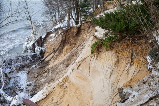 The collapsing dune in the 2200 block of Lakeshore Drive in Ganges, Michigan on Tuesday, Jan. 21, 2020. The property owners decided to demolish the house before the home fell into Lake Michigan.