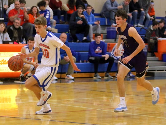 Jack Shaw of Thomas A. Edison dribbles in for a layup in a 60-42 win over Dryden in boys basketball Jan. 24, 2020 in Elmira Heights.