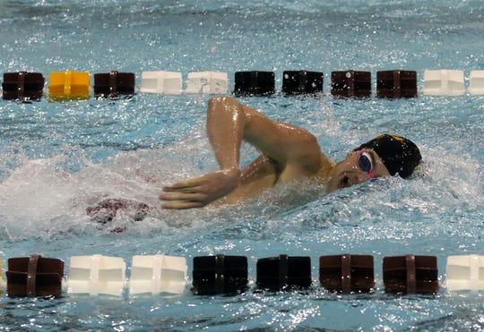 Ithaca's Sam Glaubitz swims to first place in the 200-yard freestyle at the John Beecher Boys Swimming and Diving Invitational at Ernie Davis Academy on Jan. 25, 2020.