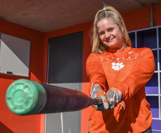 Clemson softball player M.K. Bonamy gets ready to demonstrate her hitting before a nearly full crowd seated during Clemson softball fan day at the stadium Saturday, January 25, 2020.