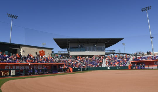 People fill the stands during Clemson softball fan day at the stadium Saturday, January 25, 2020.