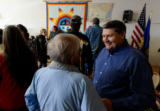 Gerald Gray, council chairman of the Little Shell Chippewa Tribe, greets people before Saturday's pipe ceremony at the Shawn Gilbert Event Center in Great Falls, Mont.  The ceremony honored the tribe's federal recognition, which occurred on Dec. 20, 2019, an effort that took roughly 150 years.