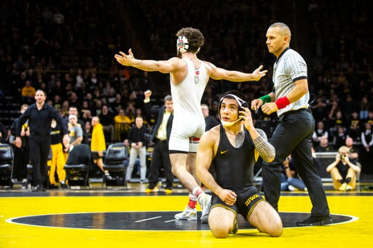 Ohio State's Sammy Sasso reacts after defeating Iowa's Pat Lugo at 149 pounds during a NCAA Big Ten Conference wrestling dual, Friday, Jan. 24, 2020, at Carver-Hawkeye Arena in Iowa City, Iowa.