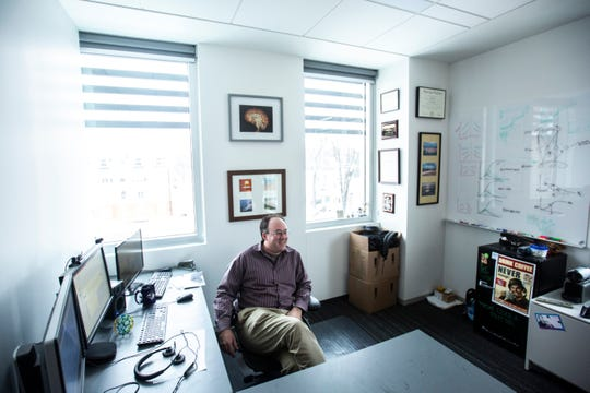University of Iowa professor Bob McMurray sits in his new office, Friday, Jan. 24, 2020, at the Department of Psychological and BrainÊSciences building on the University of Iowa campus along Iowa Avenue in Iowa City, Iowa.