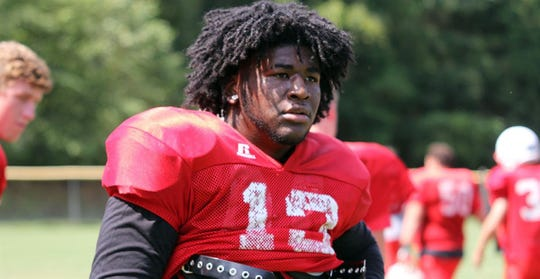 Junior defensive lineman Isaac Washington of East Surry High School in Pilot Mountain, N.C.