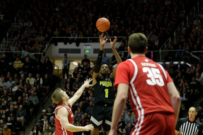 Purdue forward Aaron Wheeler (1) shoots during the first half of a NCAA men's basketball game, Friday, Jan. 24, 2020 at Mackey Arena in West Lafayette.
