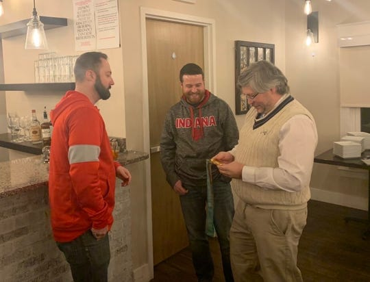 USA Curling Olympic gold medalist Tyler George paid a visit to the Derby City Curling Club on Friday, January 24 as the club gathered at 80/20 at Kaelin's Restaurant.
