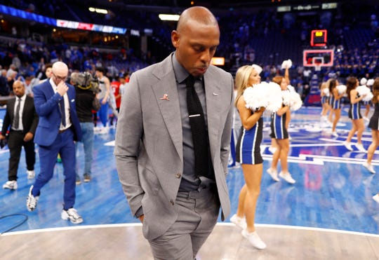 Memphis Tigers Head Coach penny HArdaway walks off the court after their 74-70 loss to the SMU Mustangs at the FedExForum on Saturday, Jan. 25, 2020.