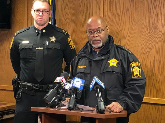 Milwaukee County Sheriff Earnell Lucas speaks at a news conference Saturday in Milwaukee. Earlier Saturday, a crash involving a sheriff's office squad car killed one person.