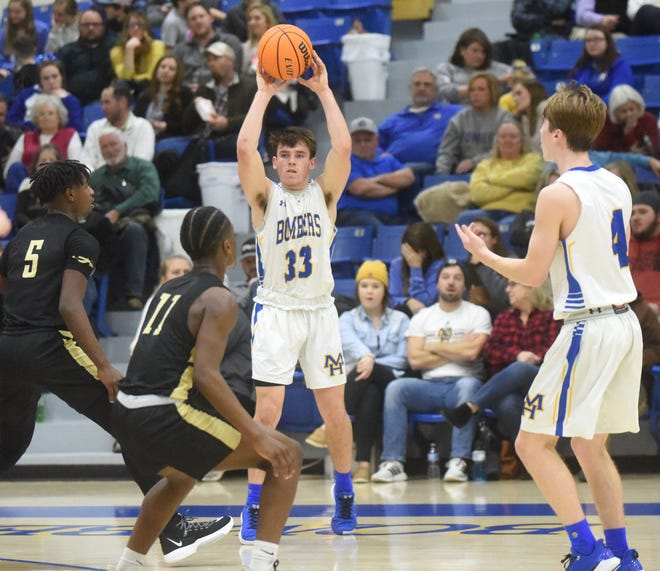 Mountain Home's Adam Sorrell looks to pass during the Bombers' 41-39 victory over Nettleton on Friday night.