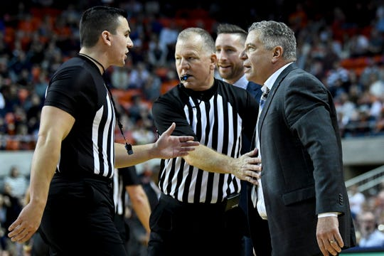 Auburn head coach Bruce Pearl speaks to officials during a game against Iowa State Saturday, Jan. 25, 2020, in Auburn, Ala.