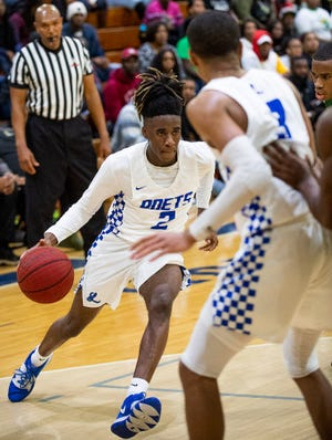 Lanier's Juan Brown (2) against Carver on the Lanier campus in Montgomery, Ala., on Friday January 24, 2020.