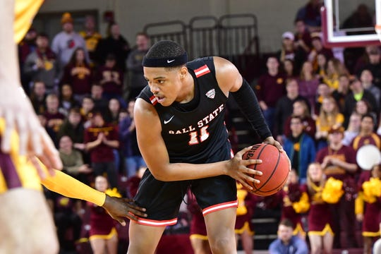 Ball State redshirt freshman guard Jarron Coleman analyzes his options during the Cardinals' game at Central Michigan. CMU beat BSU 71-66.