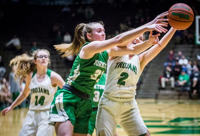 New Castle faces off against Yorktown during their game at New Castle High School Friday, Jan. 24, 2020.
