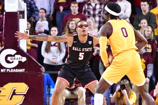 Ball State junior guard Ishmael El-Amin defends against Central Michigan during the Cardinals' game at CMU. BSU lost 71-66.