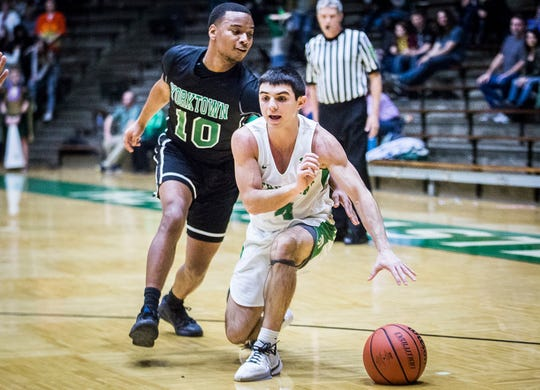 New Castle's Cole McDaniel slips past Yorktown's defense during their game at New Castle High School Friday, Jan. 24, 2020.