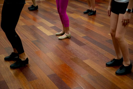 Cheryl Fuccillo, left, teaches a step during a tap class at Naples Performing Arts Center on Friday, January 24, 2020.