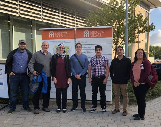 (Left to right) Randall Woodall, student; Joshua Epel, Ectogrid; Samah Ben Ayed, associate professor; Shay Gregory, Nathan Estrada, Jesus Pinon, Rebecca Holguin, students, in front of Medicon Village in Lund Sweden.