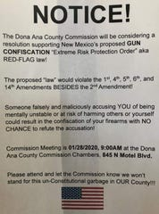 This notice was given to Custom Cartridge Co. owner Rey Gonzales by a pro-gun organizer ahead of Tuesday's Doña Ana County Commission meeting .