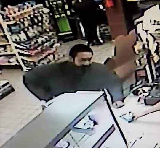 Security footage shows Santangelo Sims robbing a Kirtland gas station on Jan. 25, 2018. He was sentenced to 14 years in state prison for armed robbery on Jan. 23, in Aztec District Court