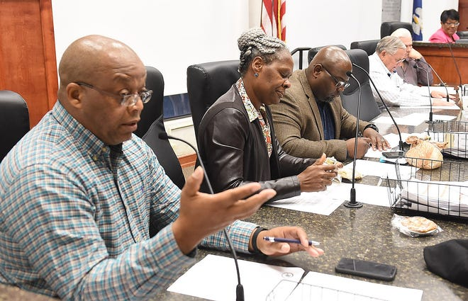 St. Landry Parish council member Jerry Red, Jr. discusses his concerns about the parish budget during Thursday's meeting. Red cast the only voted against the 2020 budget, which was approved.
