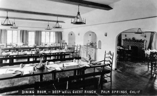 Deep Well Guest Ranch dining room in 1928 where wealthy socialites and cowboys ate together at long tables.
