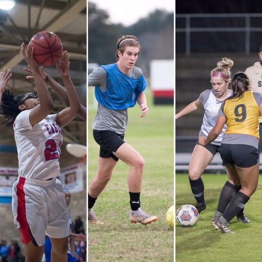 Pine Forest's Danielle Luckey (left), East Hill's Jacob Dickson (center) and Milton's Kaylee Hodges (right) are among the latest PNJ Athlete of hte Weekk nominees.