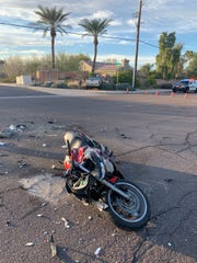 A motorcycle and a pickup truck collided in Mesa on Jan. 24, 2020.
