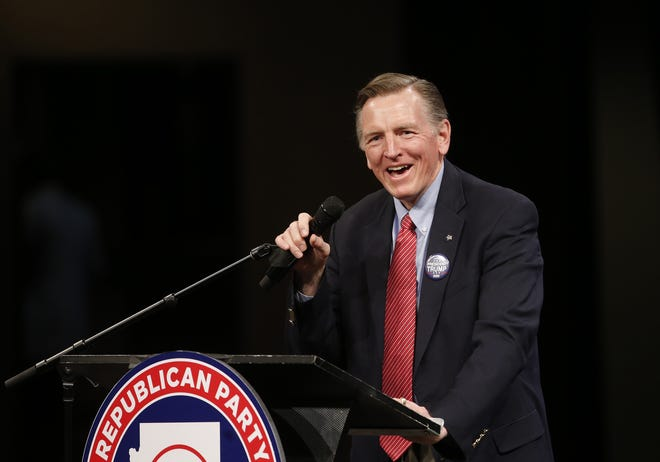 Rep. Paul Gosar speaks during an Arizona Republican Party meeting at Church for the Nations in Phoenix, Ariz., on Jan. 25, 2020.