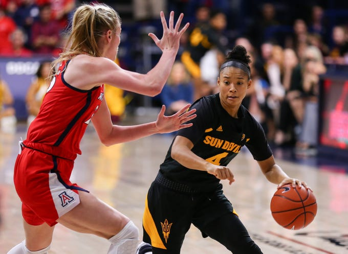 Arizona State Sun Devils guard Kiara Russell (4) tries to get the ball to the basket during a game at the McKale Center, on Jan. 24, 2020.