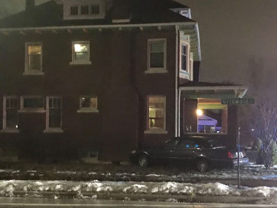 A three-vehicle crash caused a car to hit a historic home and studio on 7th Street in Port Huron on Jan. 24, 2020.